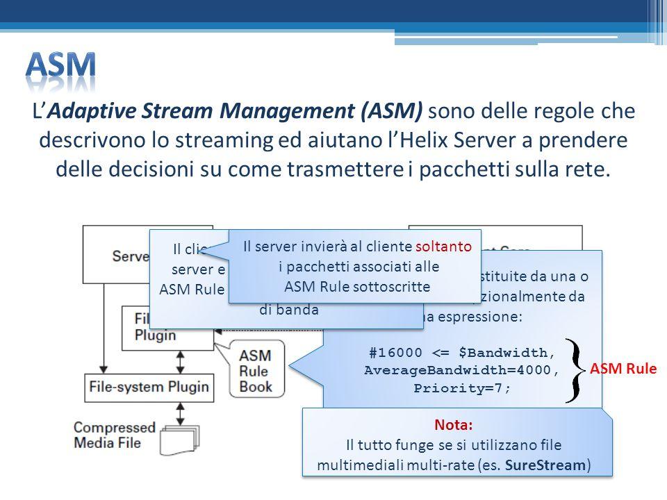LAdaptive Stream Management (ASM) sono delle regole che descrivono lo streaming ed aiutano lHelix Server a prendere delle decisioni su come trasmettere i pacchetti sulla rete.
