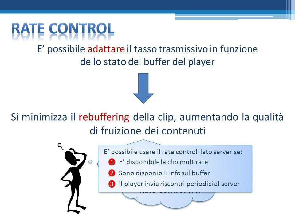 E possibile adattare il tasso trasmissivo in funzione dello stato del buffer del player Si minimizza il rebuffering della clip, aumentando la qualità di fruizione dei contenuti ASM o Rate Control !?!.