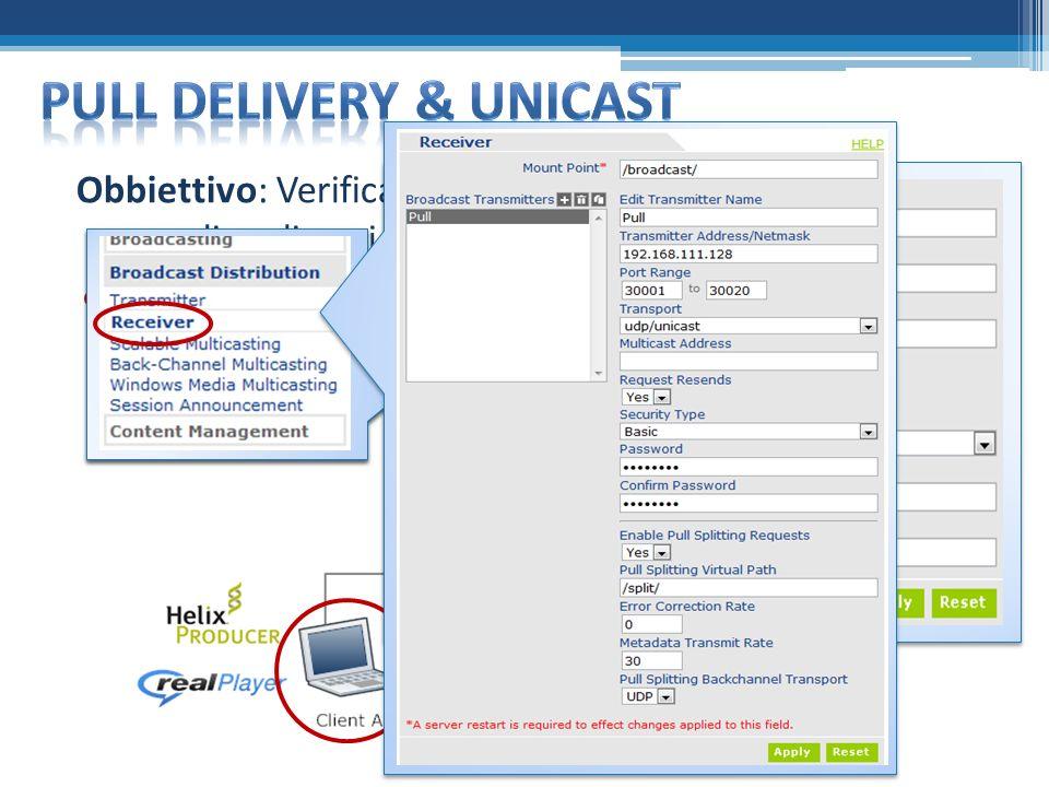 Obbiettivo: Verificare il pull delivery da Helix Producer di un live video con distribuzione unicast dello stream verso i diversi player