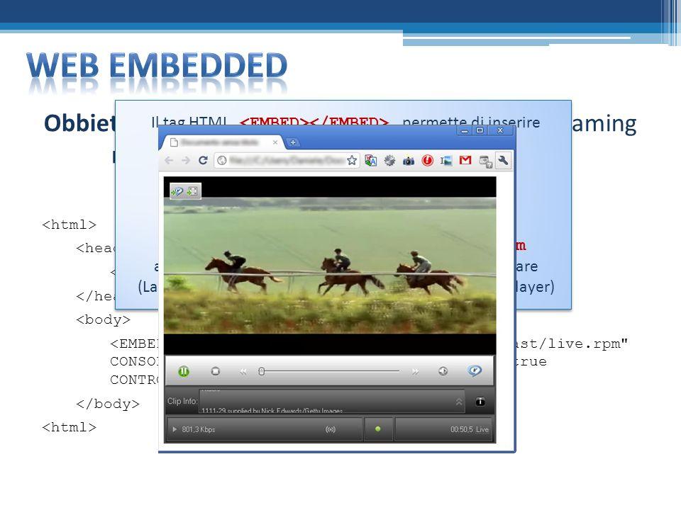 Obbiettivo: Verificare lincapsulamento dello streaming multimediale allinterno di una pagina web Prova Embedded Il tag HTML permette di inserire lo stream allinterno della pagina La proprietà CONTROLS consente di scegliere i controlli da visualizzare (es.: Play, Pause,…) Lestensione del file multimediale deve essere.rpm altrimenti il browser non riconosce il plug-in da attivare (La macchina client deve aver installato il plug-in RealPlayer) Il tag HTML permette di inserire lo stream allinterno della pagina La proprietà CONTROLS consente di scegliere i controlli da visualizzare (es.: Play, Pause,…) Lestensione del file multimediale deve essere.rpm altrimenti il browser non riconosce il plug-in da attivare (La macchina client deve aver installato il plug-in RealPlayer)
