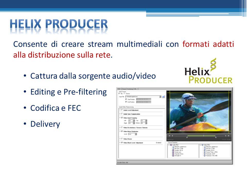 Consente di creare stream multimediali con formati adatti alla distribuzione sulla rete.