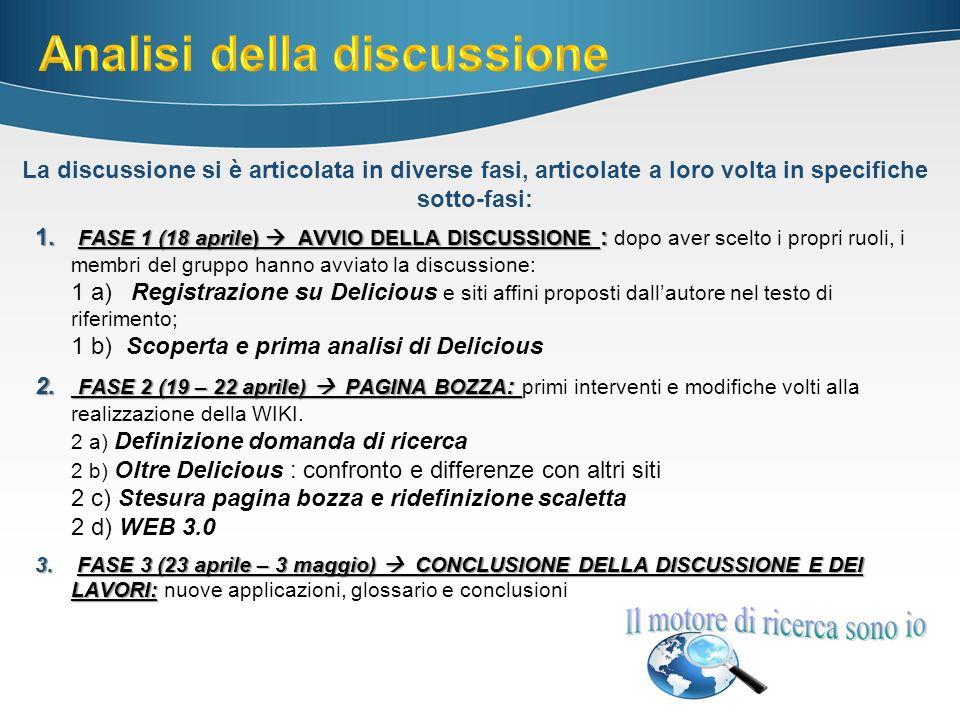 1. FASE 1 (18 aprile) AVVIO DELLA DISCUSSIONE : 1.