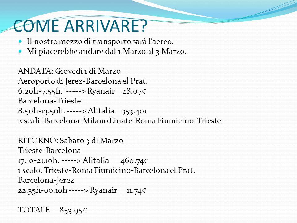COME ARRIVARE? Il nostro mezzo di transporto sarà laereo. Mi piacerebbe andare dal 1 Marzo al 3 Marzo. ANDATA: Giovedì 1 di Marzo Aeroporto di Jerez-B