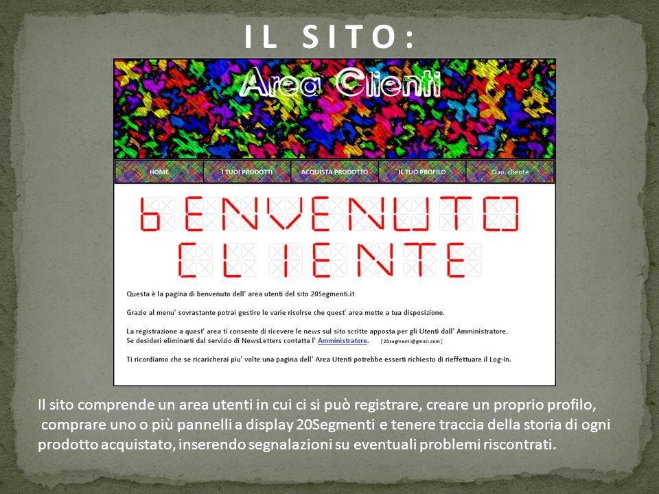 I L S I T O : Il sito comprende un area utenti in cui ci si può registrare, creare un proprio profilo, comprare uno o più pannelli a display 20Segment