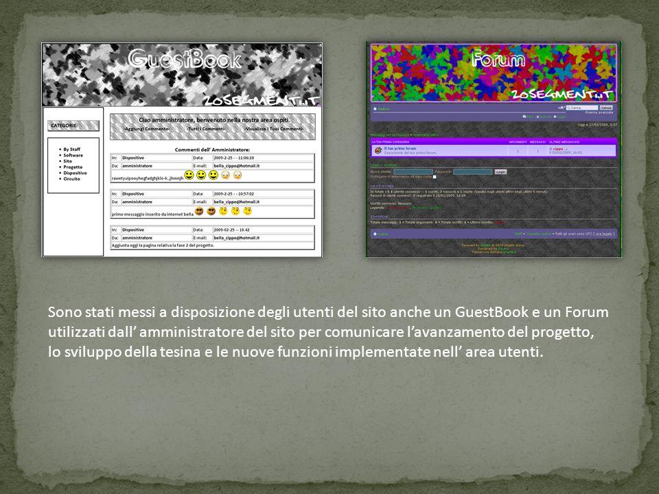 Sono stati messi a disposizione degli utenti del sito anche un GuestBook e un Forum utilizzati dall amministratore del sito per comunicare lavanzament