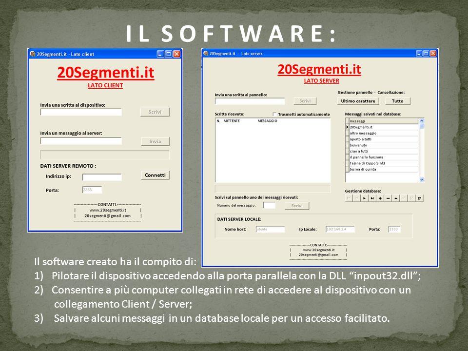 I L S O F T W A R E : Il software creato ha il compito di: 1)Pilotare il dispositivo accedendo alla porta parallela con la DLL inpout32.dll; 2)Consent