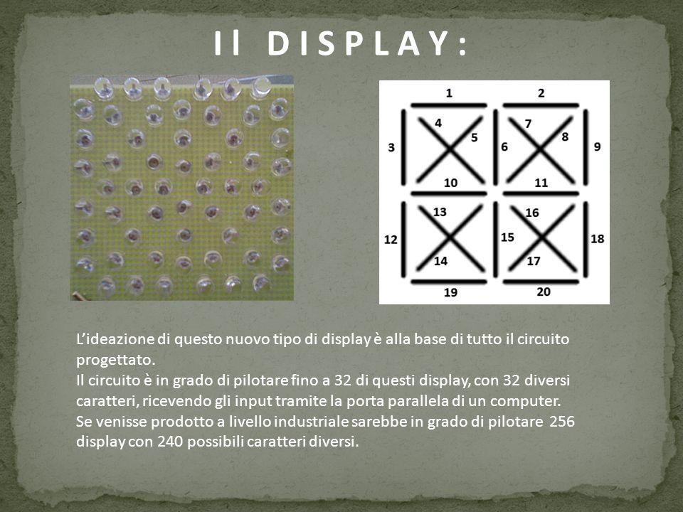 L O B B I E T T I V O : In questa immagine si può vedere come saranno visualizzate le 26 lettere sul display 20Segmenti.