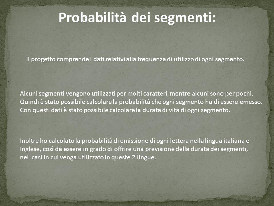 Probabilità dei segmenti: Il progetto comprende i dati relativi alla frequenza di utilizzo di ogni segmento. Inoltre ho calcolato la probabilità di em