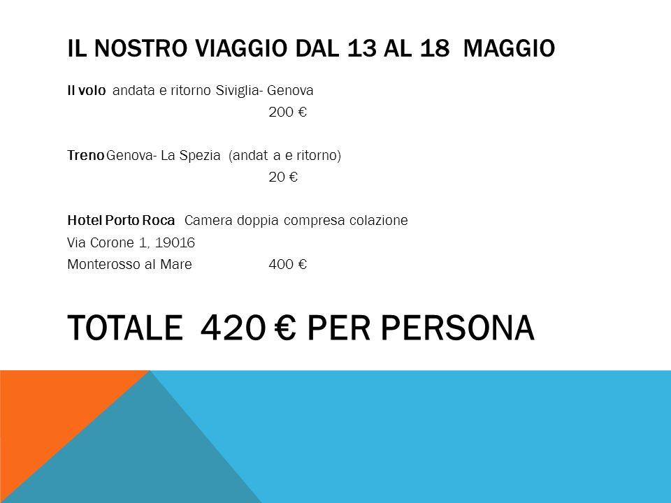 IL NOSTRO VIAGGIO DAL 13 AL 18 MAGGIO Il volo andata e ritorno Siviglia- Genova 200 Treno Genova- La Spezia (andat a e ritorno) 20 Hotel Porto Roca Ca