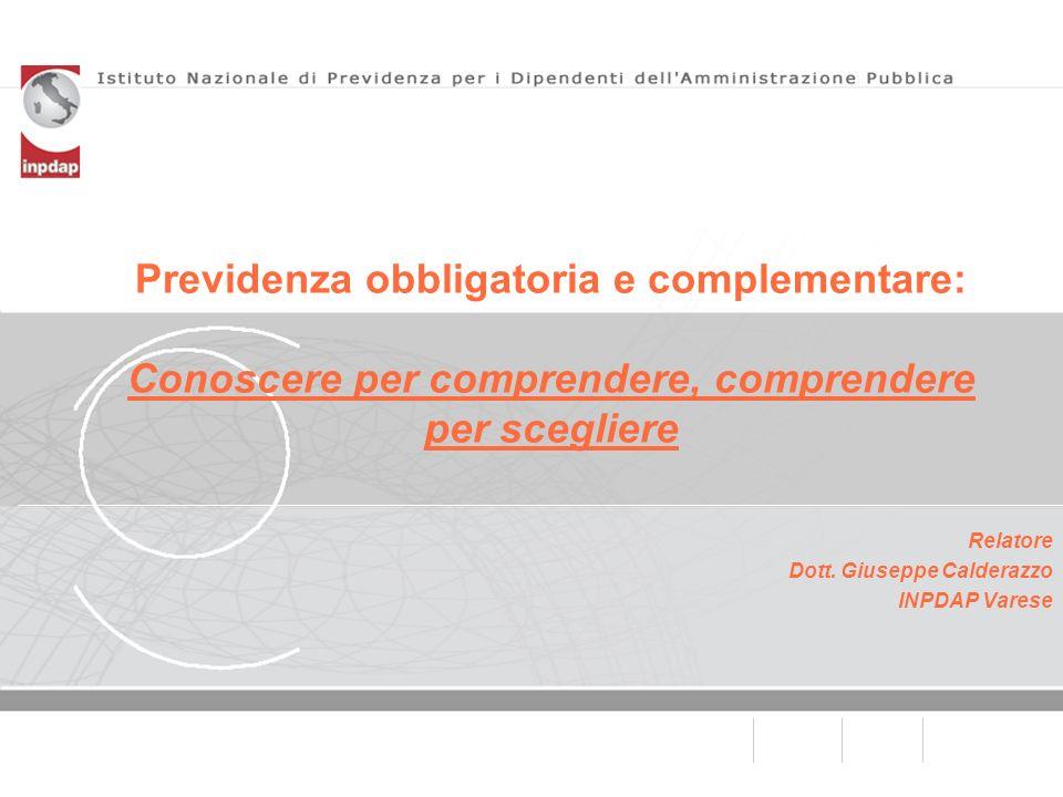 Previdenza obbligatoria e complementare: Conoscere per comprendere, comprendere per scegliere Relatore Dott. Giuseppe Calderazzo INPDAP Varese