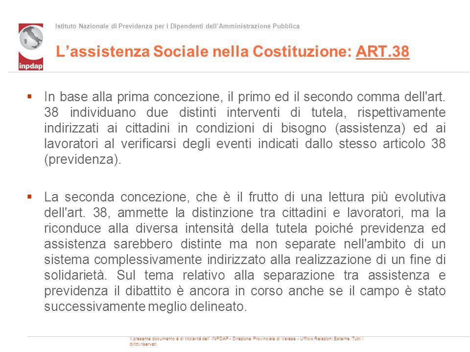 Istituto Nazionale di Previdenza per i Dipendenti dellAmministrazione Pubblica Lassistenza Sociale nella Costituzione: ART.38 In base alla prima conce