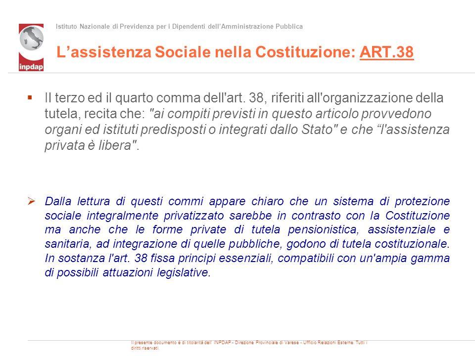 Istituto Nazionale di Previdenza per i Dipendenti dellAmministrazione Pubblica Lassistenza Sociale nella Costituzione: ART.38 Il terzo ed il quarto co