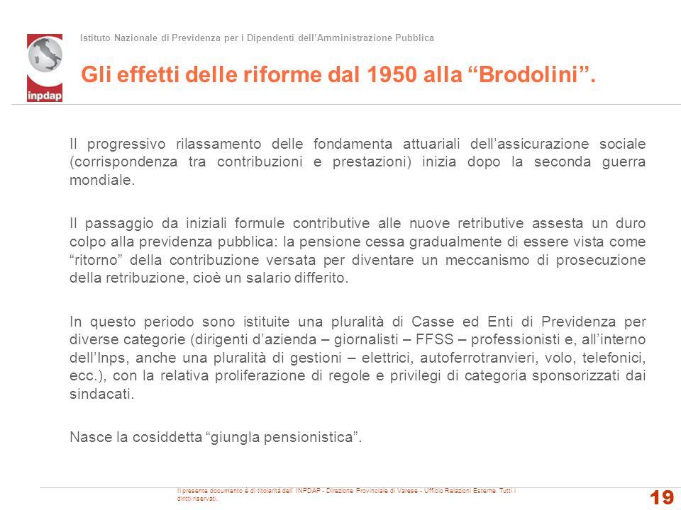 Istituto Nazionale di Previdenza per i Dipendenti dellAmministrazione Pubblica Gli effetti delle riforme dal 1950 alla Brodolini. Il progressivo rilas