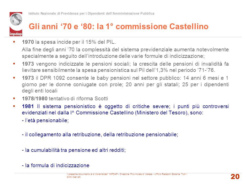 Istituto Nazionale di Previdenza per i Dipendenti dellAmministrazione Pubblica Gli anni 70 e 80: la 1° commissione Castellino 1970 la spesa incide per