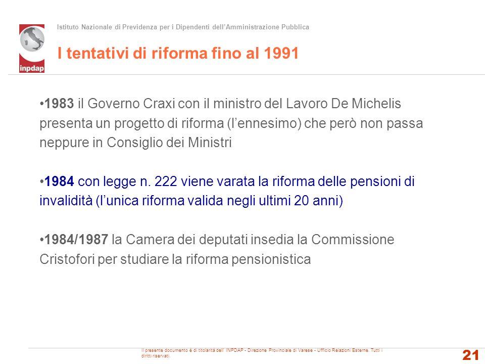 Istituto Nazionale di Previdenza per i Dipendenti dellAmministrazione Pubblica I tentativi di riforma fino al 1991 1983 il Governo Craxi con il minist