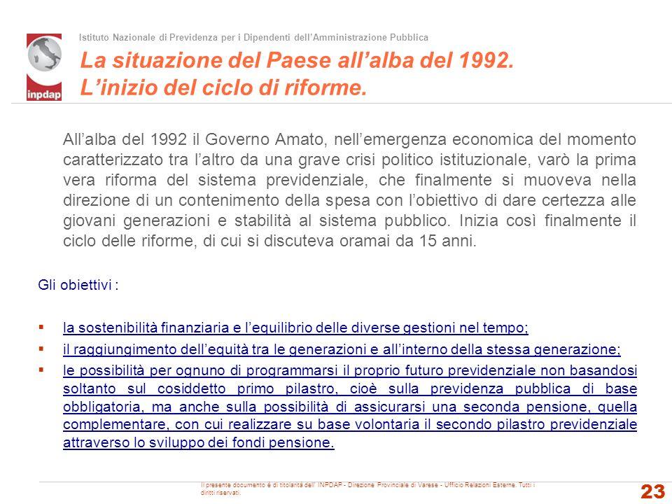 Istituto Nazionale di Previdenza per i Dipendenti dellAmministrazione Pubblica La situazione del Paese allalba del 1992. Linizio del ciclo di riforme.