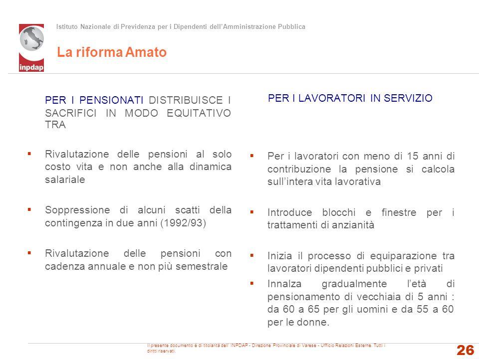 Istituto Nazionale di Previdenza per i Dipendenti dellAmministrazione Pubblica La riforma Amato PER I PENSIONATI DISTRIBUISCE I SACRIFICI IN MODO EQUI