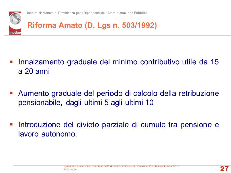 Istituto Nazionale di Previdenza per i Dipendenti dellAmministrazione Pubblica Riforma Amato (D. Lgs n. 503/1992) Innalzamento graduale del minimo con