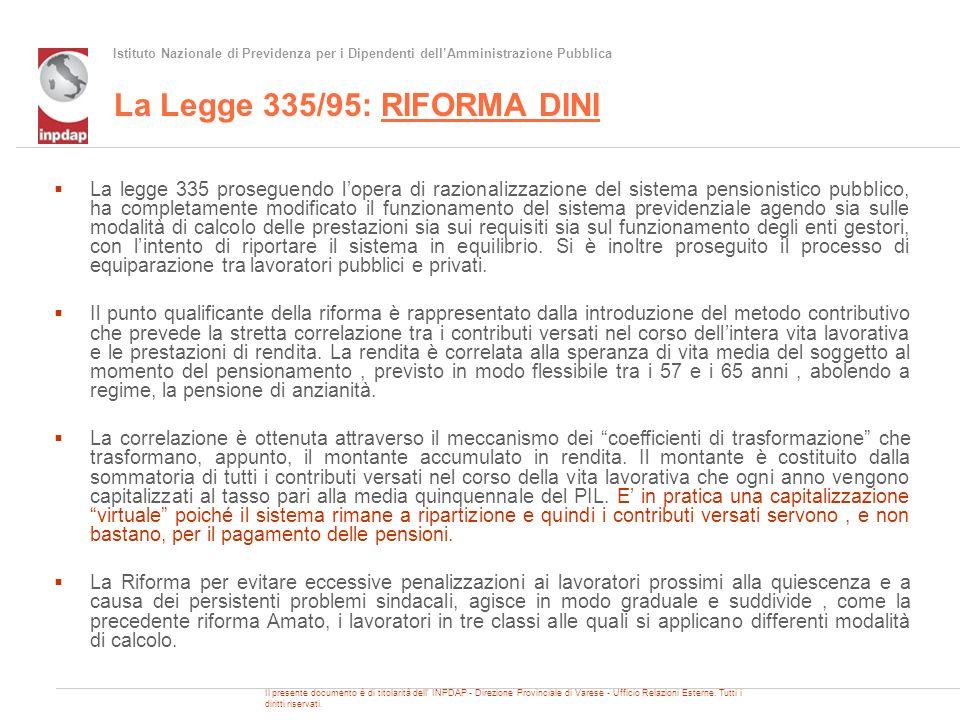 Istituto Nazionale di Previdenza per i Dipendenti dellAmministrazione Pubblica La Legge 335/95: RIFORMA DINI La legge 335 proseguendo lopera di razion