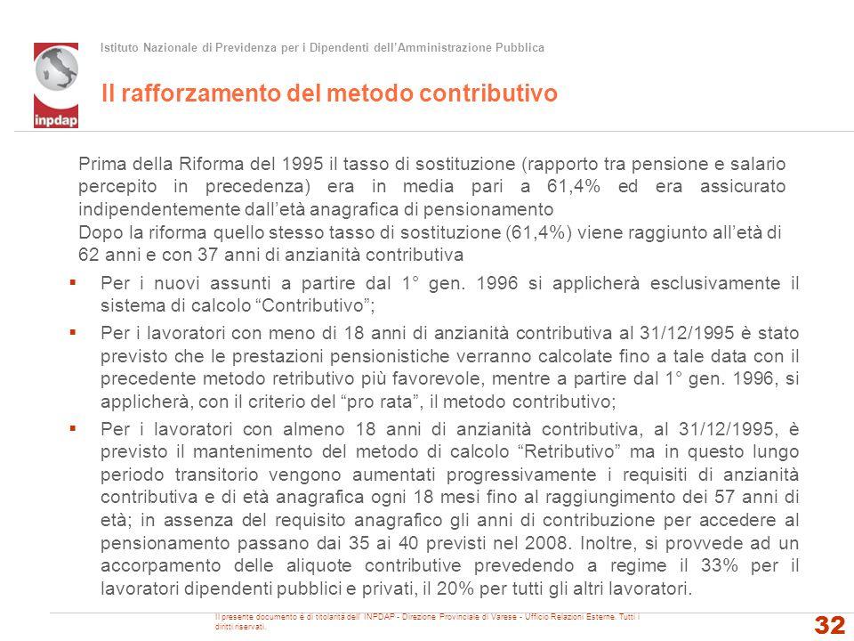 Istituto Nazionale di Previdenza per i Dipendenti dellAmministrazione Pubblica Il rafforzamento del metodo contributivo Il presente documento è di tit