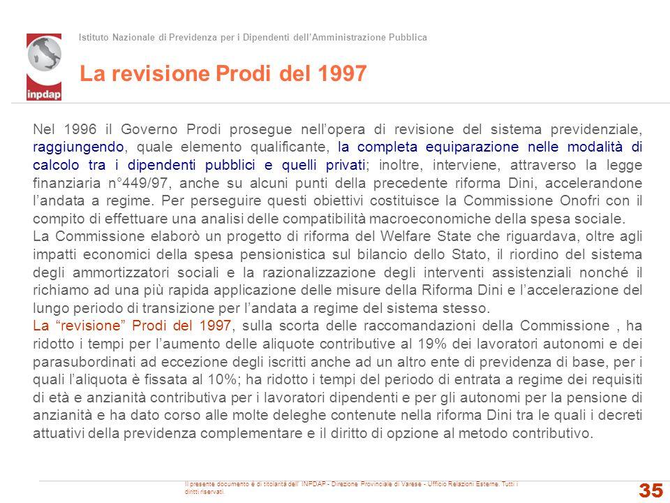 Istituto Nazionale di Previdenza per i Dipendenti dellAmministrazione Pubblica La revisione Prodi del 1997 35 Nel 1996 il Governo Prodi prosegue nello
