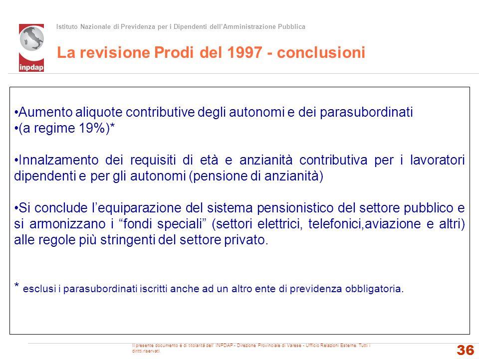 Istituto Nazionale di Previdenza per i Dipendenti dellAmministrazione Pubblica La revisione Prodi del 1997 - conclusioni 36 Aumento aliquote contribut