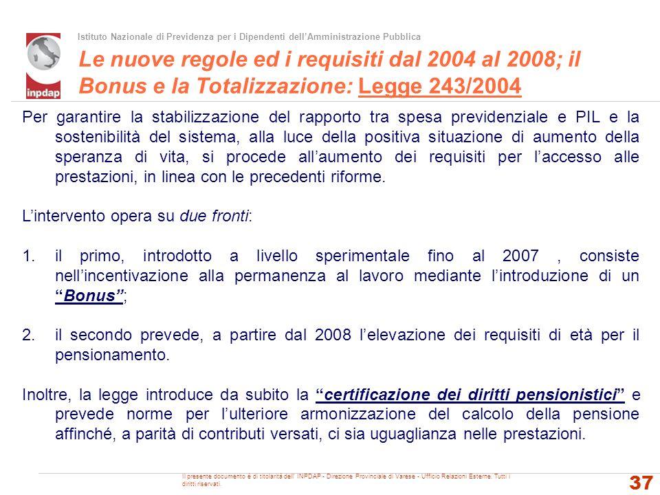 Istituto Nazionale di Previdenza per i Dipendenti dellAmministrazione Pubblica Le nuove regole ed i requisiti dal 2004 al 2008; il Bonus e la Totalizz