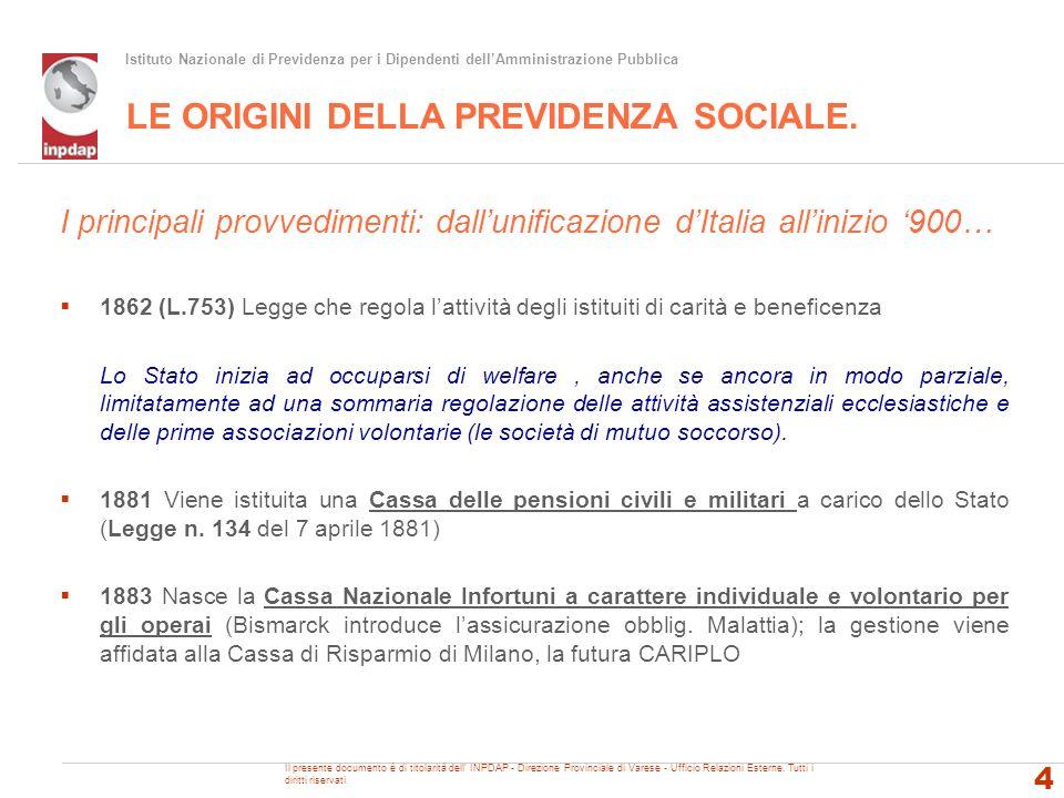 Istituto Nazionale di Previdenza per i Dipendenti dellAmministrazione Pubblica La riforma Amato: D.