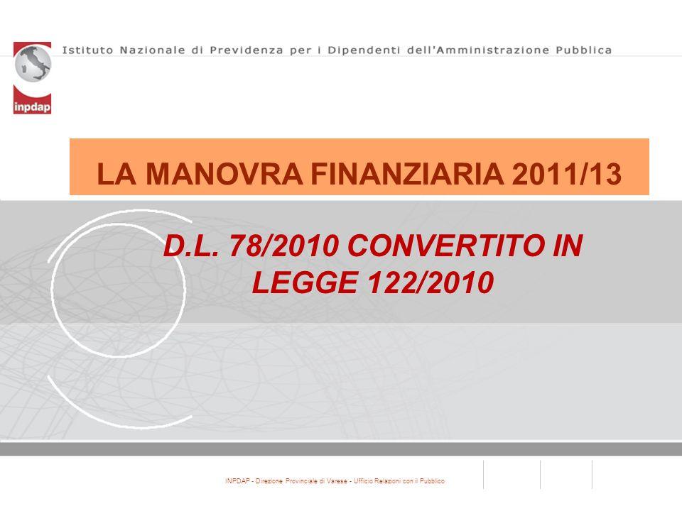 INPDAP - Direzione Provinciale di Varese - Ufficio Relazioni con il Pubblico LA MANOVRA FINANZIARIA 2011/13 D.L. 78/2010 CONVERTITO IN LEGGE 122/2010