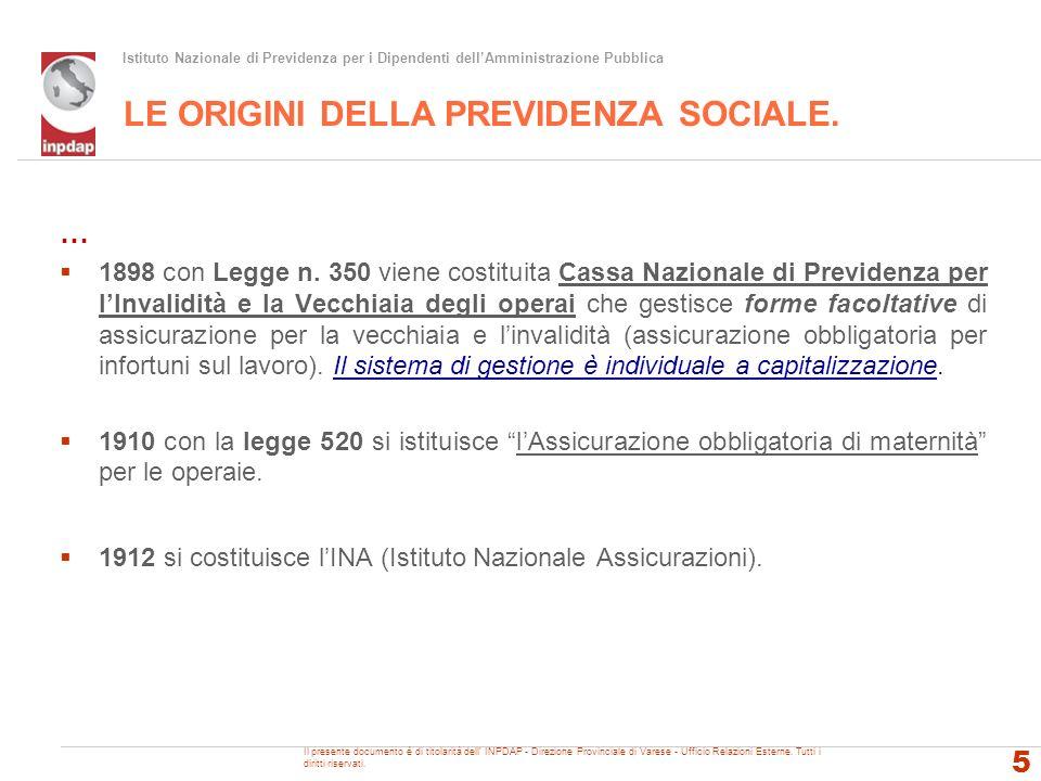 Istituto Nazionale di Previdenza per i Dipendenti dellAmministrazione Pubblica LE ORIGINI DELLA PREVIDENZA SOCIALE. … 1898 con Legge n. 350 viene cost