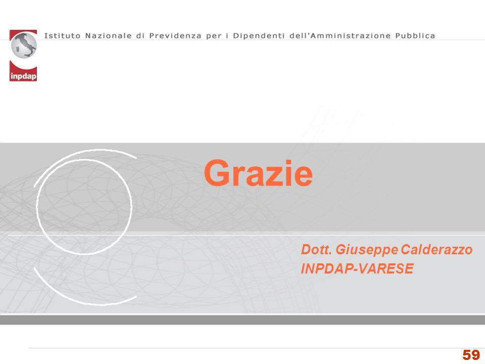 Istituto Nazionale di Previdenza per i Dipendenti dellAmministrazione Pubblica Grazie 59 Dott. Giuseppe Calderazzo INPDAP-VARESE