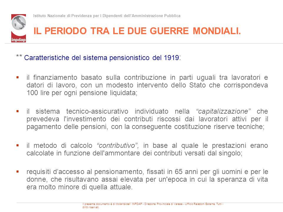 Istituto Nazionale di Previdenza per i Dipendenti dellAmministrazione Pubblica IL PERIODO TRA LE DUE GUERRE MONDIALI.
