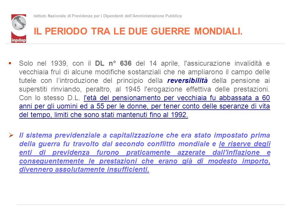 Istituto Nazionale di Previdenza per i Dipendenti dellAmministrazione Pubblica Gli effetti delle riforme dal 1950 alla Brodolini.