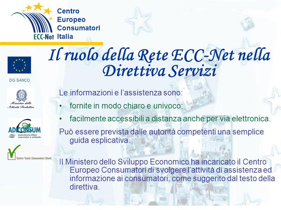 Il ruolo della Rete ECC-Net nella Direttiva Servizi Centro Europeo Consumatori Italia ………. DG SANCO Le informazioni e lassistenza sono: fornite in mod