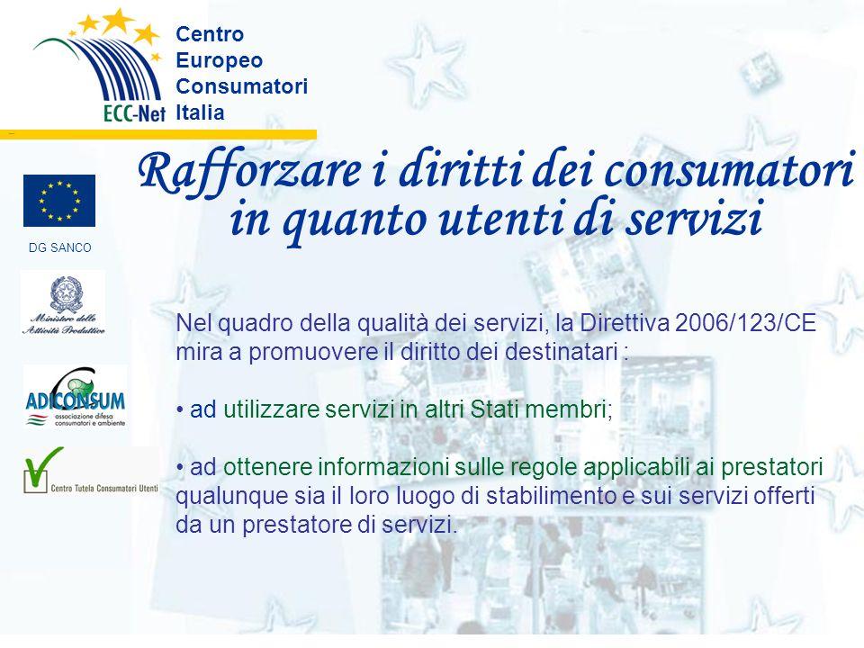 Rafforzare i diritti dei consumatori in quanto utenti di servizi Centro Europeo Consumatori Italia ………. DG SANCO Nel quadro della qualità dei servizi,