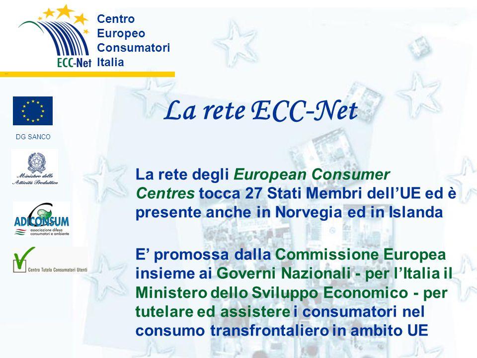 La rete ECC-Net Centro Europeo Consumatori Italia ………. La rete degli European Consumer Centres tocca 27 Stati Membri dellUE ed è presente anche in Nor