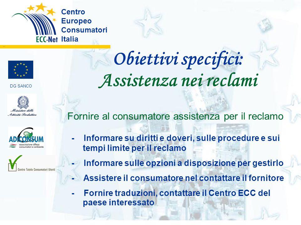 Obiettivi specifici: Assistenza nei reclami Centro Europeo Consumatori Italia ………. Fornire al consumatore assistenza per il reclamo - Informare su dir
