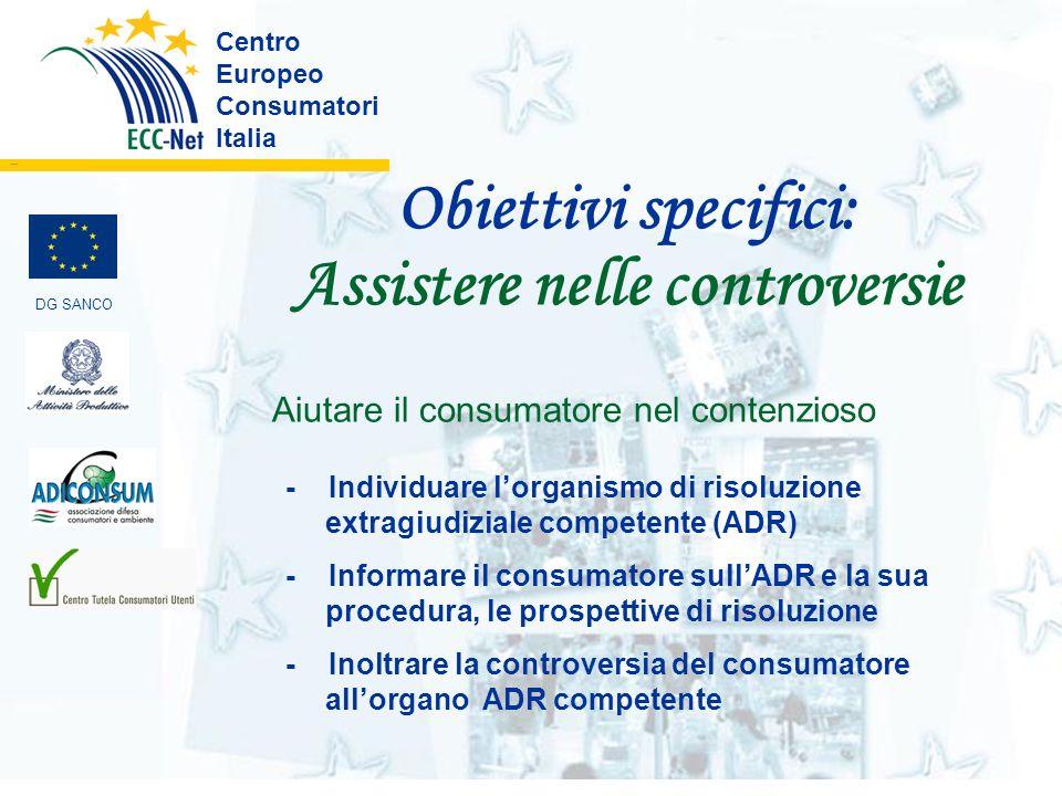 Obiettivi specifici: Assistere nelle controversie Centro Europeo Consumatori Italia ………. Aiutare il consumatore nel contenzioso - Individuare lorganis