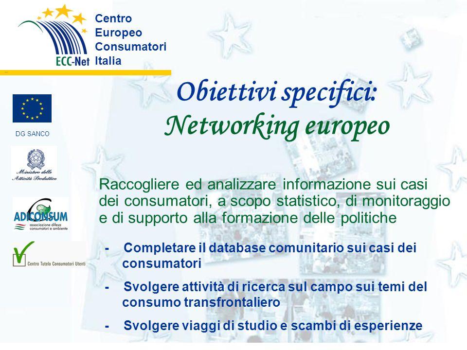Obiettivi specifici: Networking europeo Centro Europeo Consumatori Italia ………. Raccogliere ed analizzare informazione sui casi dei consumatori, a scop