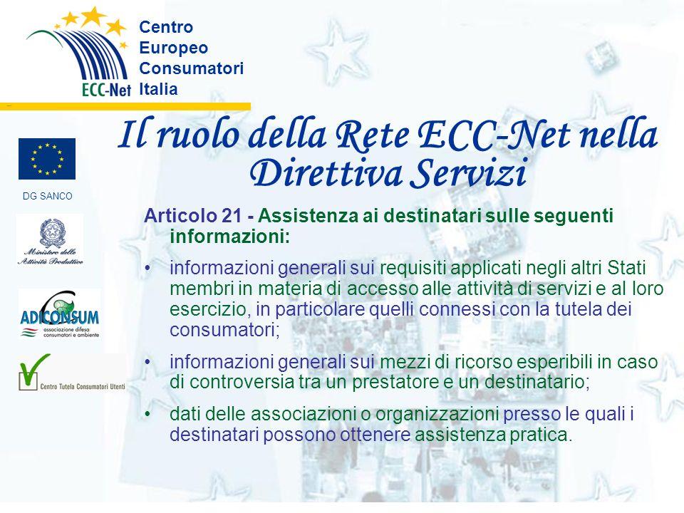 Il ruolo della Rete ECC-Net nella Direttiva Servizi Centro Europeo Consumatori Italia ………. DG SANCO Articolo 21 - Assistenza ai destinatari sulle segu