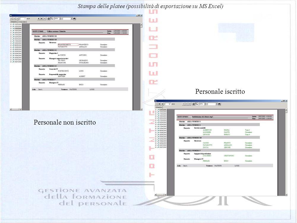 Stampa delle platee (possibilità di esportazione su MS Excel) Personale iscritto Personale non iscritto