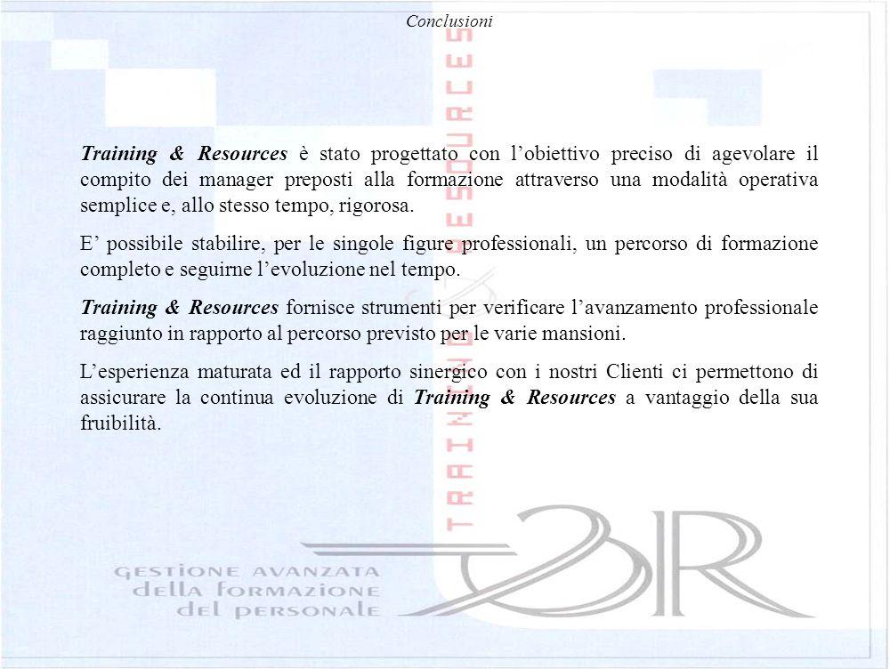 Conclusioni Training & Resources è stato progettato con lobiettivo preciso di agevolare il compito dei manager preposti alla formazione attraverso una