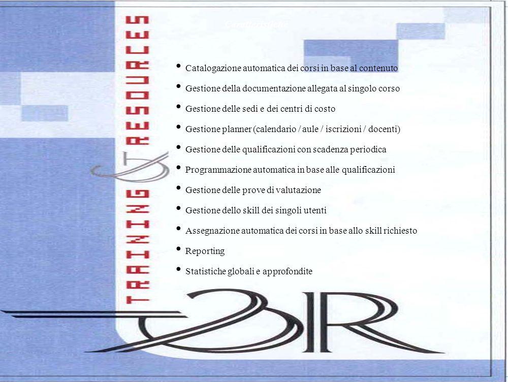 Caratteristiche Catalogazione automatica dei corsi in base al contenuto Gestione della documentazione allegata al singolo corso Gestione delle sedi e