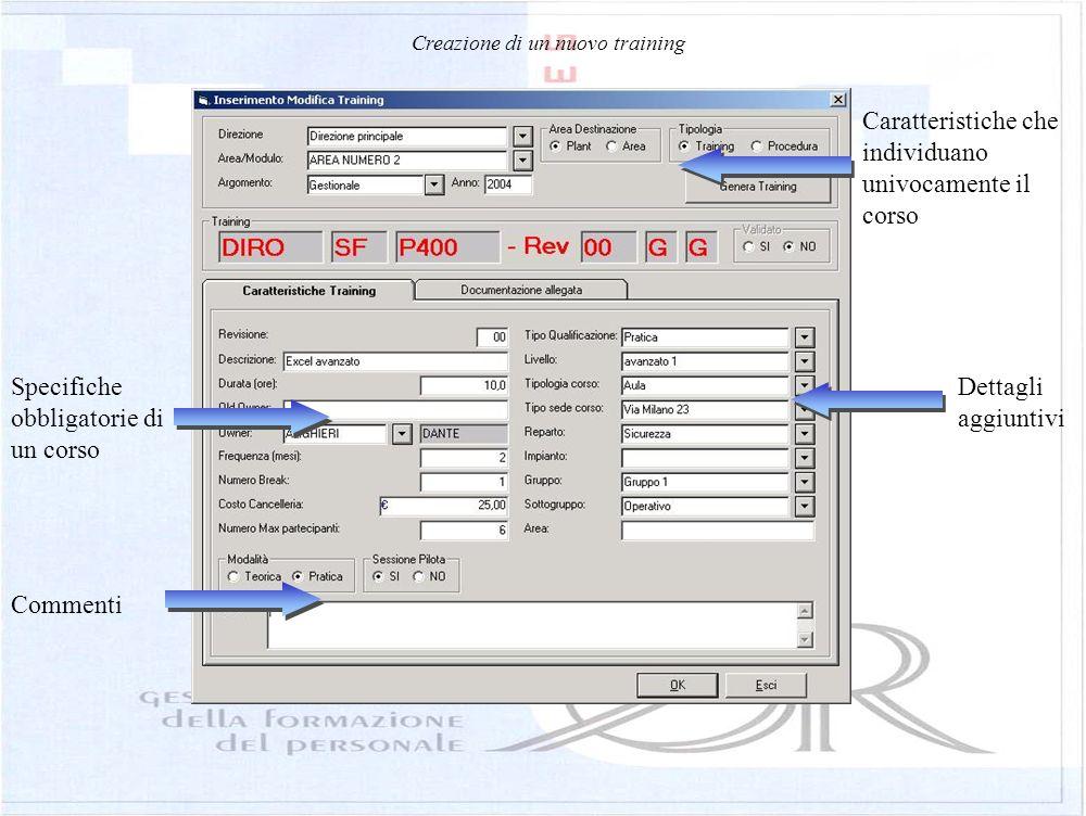Anagrafica dei corsi Accesso immediato alla documentazione allegata Informazioni principali