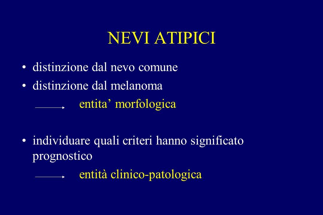 NEVI ATIPICI distinzione dal nevo comune distinzione dal melanoma entita morfologica individuare quali criteri hanno significato prognostico entità cl