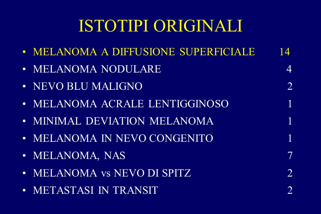 ISTOTIPI ORIGINALI MELANOMA A DIFFUSIONE SUPERFICIALE14 MELANOMA NODULARE 4 NEVO BLU MALIGNO 2 MELANOMA ACRALE LENTIGGINOSO 1 MINIMAL DEVIATION MELANO