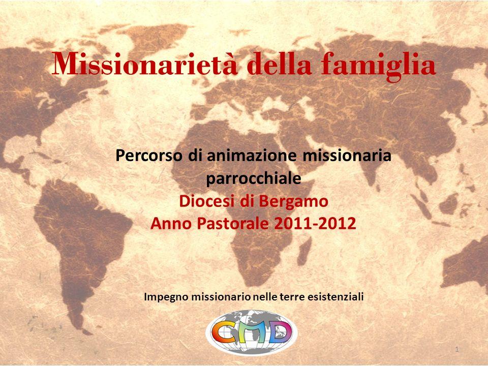 Missionarietà della famiglia Impegno missionario nelle terre esistenziali Percorso di animazione missionaria parrocchiale Diocesi di Bergamo Anno Past