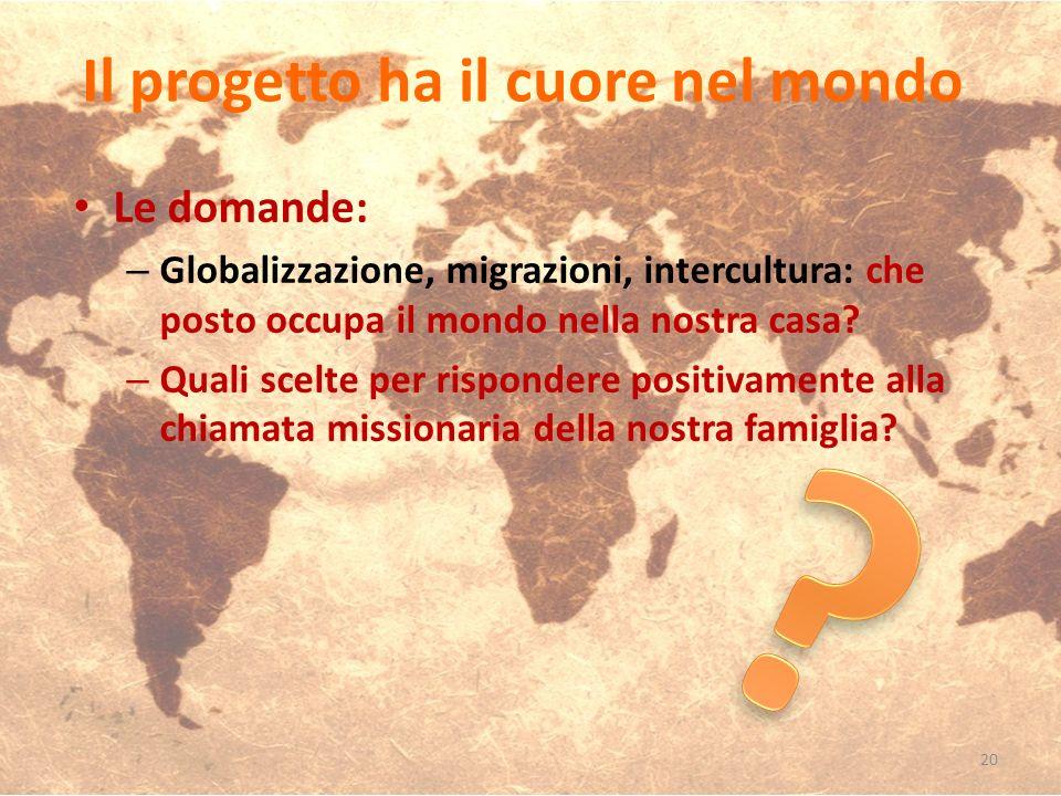 Le domande: – Globalizzazione, migrazioni, intercultura: che posto occupa il mondo nella nostra casa? – Quali scelte per rispondere positivamente alla