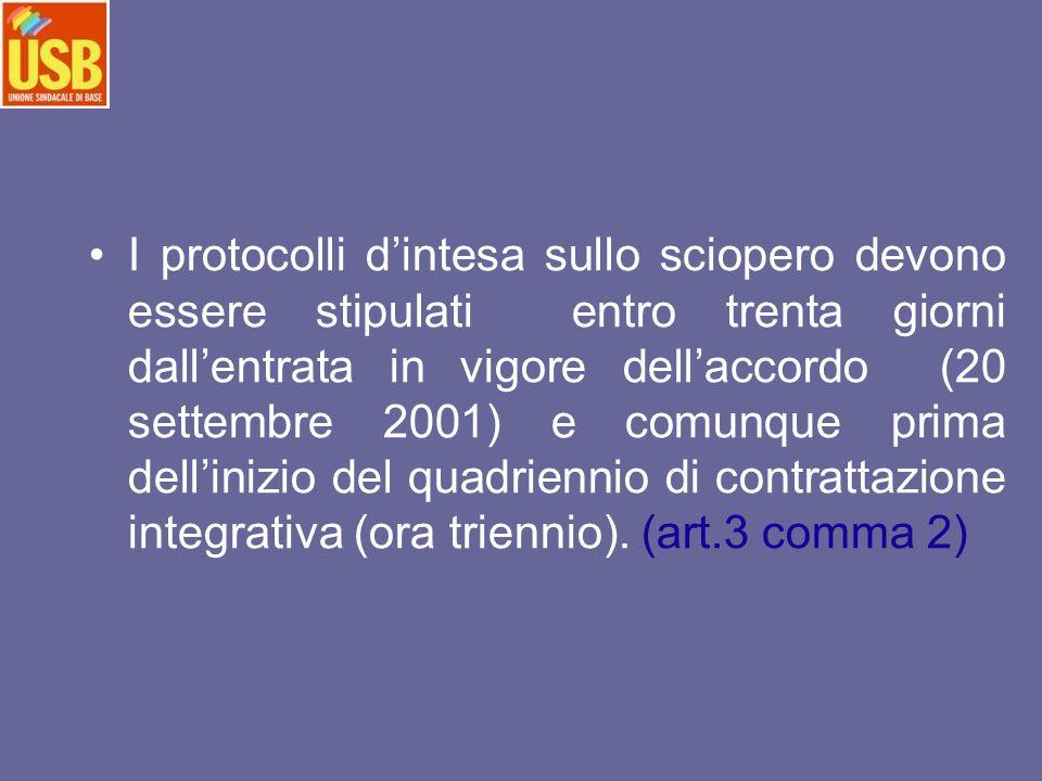 I protocolli dintesa sullo sciopero devono essere stipulati entro trenta giorni dallentrata in vigore dellaccordo (20 settembre 2001) e comunque prima dellinizio del quadriennio di contrattazione integrativa (ora triennio).