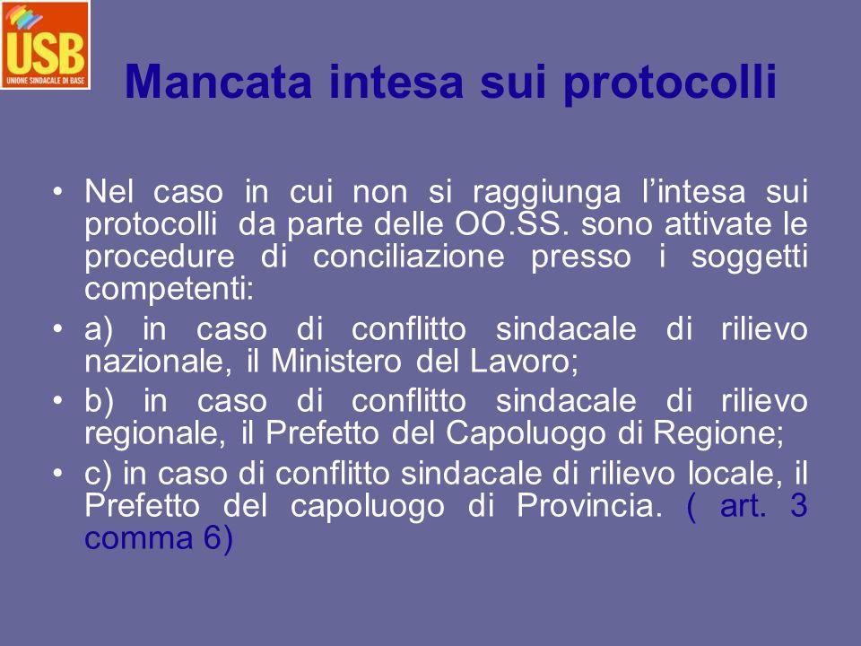 Mancata intesa sui protocolli Nel caso in cui non si raggiunga lintesa sui protocolli da parte delle OO.SS. sono attivate le procedure di conciliazion